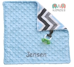 Personalized Grey Blue Multi Double Minky Binky Blanket